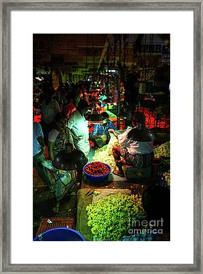 Framed Print featuring the photograph Chennai Flower Market Stalls by Mike Reid
