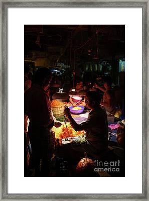 Chennai Flower Market Transaction Framed Print