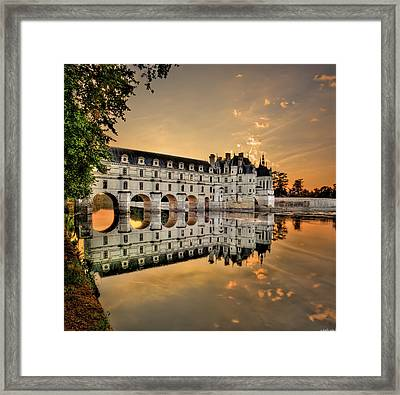 Chenonceau Castle In The Twilight Framed Print