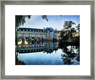 Chenonceau Twilight In Blue - Vintage Version Framed Print