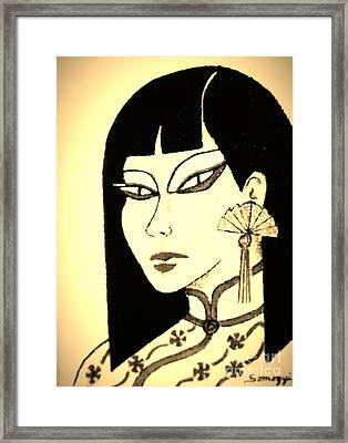 Cheong-sam -- Vintage Sepia Framed Print by Jayne Somogy
