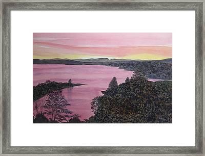 Framed Print featuring the painting Cherokee Lake Sunset by Joel Deutsch