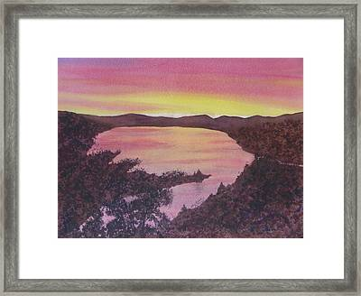 Framed Print featuring the painting Cherokee Lake Sunset Number Seven by Joel Deutsch
