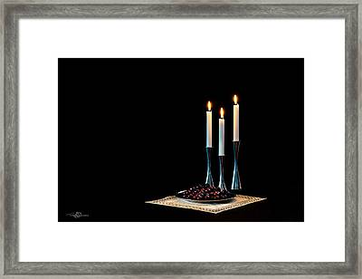 Cherries And Candles In Steel Framed Print by Torbjorn Swenelius