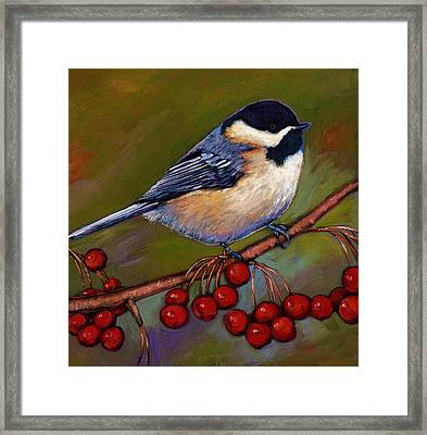 Cherries And Chickadee Framed Print by Johnathan Harris