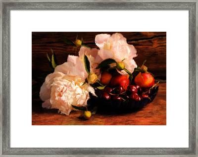 Cherries And Peonies  Framed Print by Georgiana Romanovna
