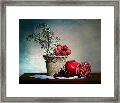 Cherries And Pommegranates Framed Print by Levin Rodriguez