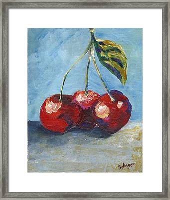 Cherries By Three Framed Print