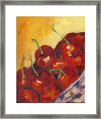 Cherries In A Basket Framed Print