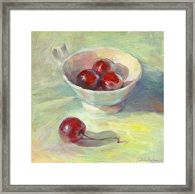 Cherries In A Cup On A Sunny Day Painting Framed Print by Svetlana Novikova