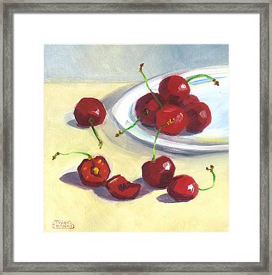 Cherries On A Plate Framed Print by Susan Thomas