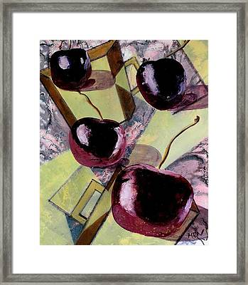 Cherries On Flat Homeware Framed Print by Evguenia Men