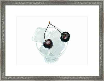 Cherries On Ice. Framed Print by Terence Davis