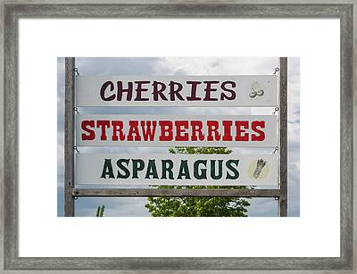 Cherries Strawberries Asparagus Roadside Sign Framed Print