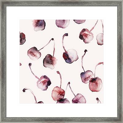Cherries Framed Print by Varpu Kronholm