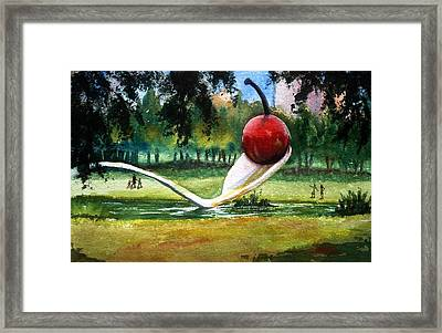 Cherry And Spoon Framed Print by Marilyn Jacobson