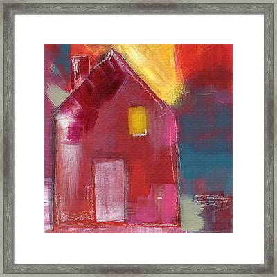 Cherry Blossom House- Art By Linda Woods Framed Print