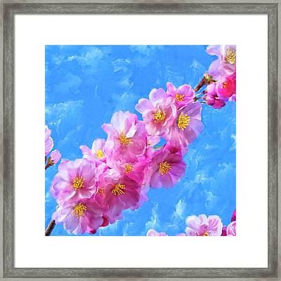 Framed Print featuring the painting Cherry Blossom Pink - Impressions Of Spring by Mark Tisdale