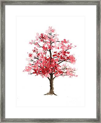 Cherry Blossom Tree Minimalist Watercolor Painting Framed Print by Joanna Szmerdt