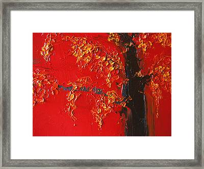 Cherry Blossom Tree - Red Yellow Framed Print by Patricia Awapara