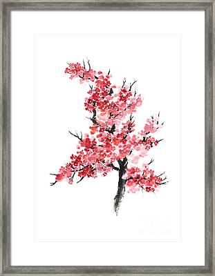 Cherry Blossom Watercolor Poster Framed Print