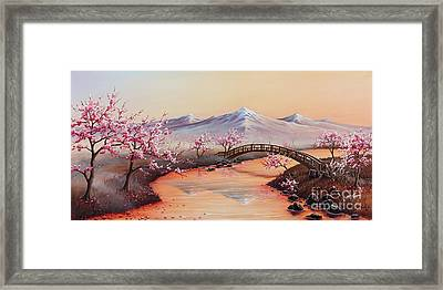Cherry Blossoms In The Mist - Revisited Framed Print by Joe Mandrick