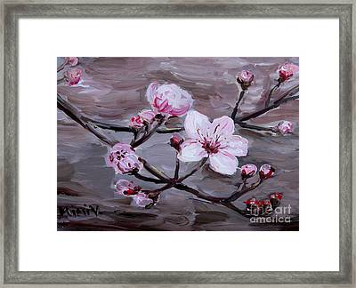 Framed Print featuring the painting Cherry Blossoms by Maria Langgle