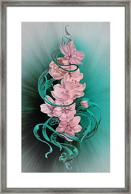 Cherry Blossoms On Turquoise Framed Print by Irina Effa