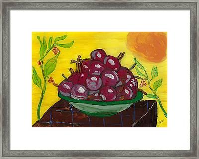 Cherry Bowl Framed Print by Enrico Pischiera