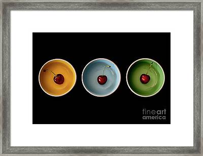Cherry Color Block Experiment Framed Print