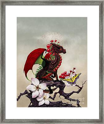 Framed Print featuring the digital art Cherry Dragon by Stanley Morrison