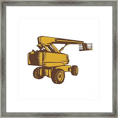 Cherry Picker Mobile Lift Platform Woodcut Framed Print