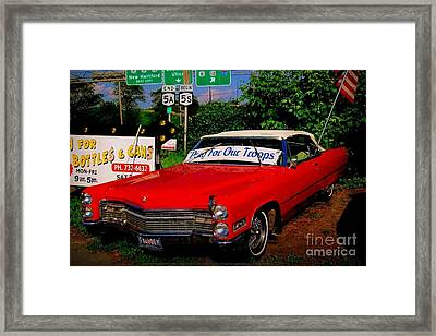 Framed Print featuring the photograph Cherry Red American Patriot 1966 Cadillac Coupe De Ville by Peter Gumaer Ogden