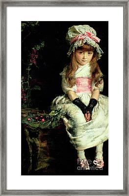 Cherry Ripe   Detail Framed Print by John Everett Millais
