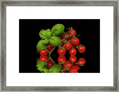 Framed Print featuring the photograph Cherry Tomatoes And Basil by David French
