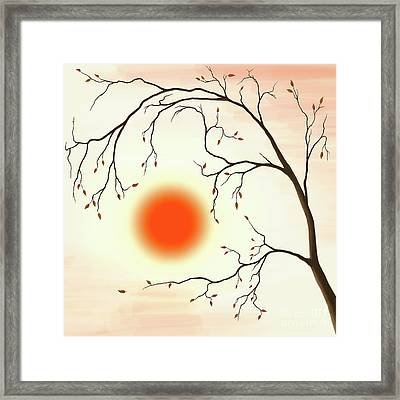 Cherry Tree In Fall Framed Print by Oleksiy Maksymenko