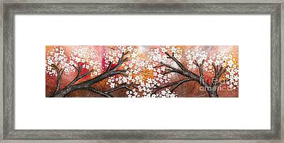 Cherry Tree In Red Framed Print by Home Art