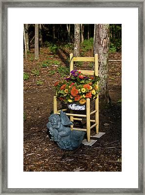 Cherub And Chair Framed Print