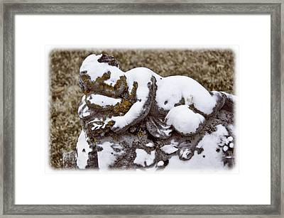 Cherub Stone Framed Print by Amber Flowers