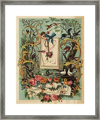 Cherubs, Doves, And Foliage In Outdoor Framed Print