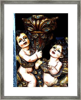 Cherubs In The Window Framed Print by Mexicolors Art Photography
