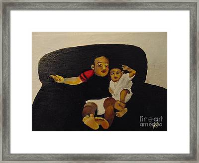 Framed Print featuring the painting Cherubs by Saundra Johnson