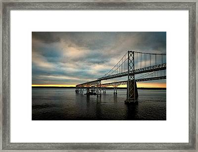 Chesapeake Bay Bridge At Twilight Framed Print