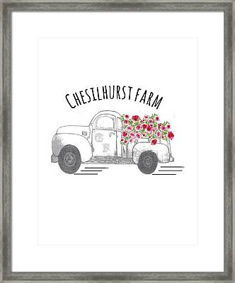 Framed Print featuring the drawing Chesilhurst Farm by Kim Kent