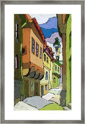 Chesky Krumlov Street Nove Mesto Framed Print by Yuriy  Shevchuk