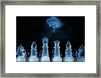 Chess Game And Human Brain Framed Print by Christian Lagereek