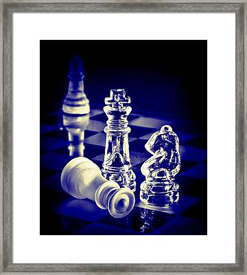 Chess In Blue Framed Print by Vicki McLead