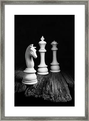 Chess Pieces On Old Wood Framed Print