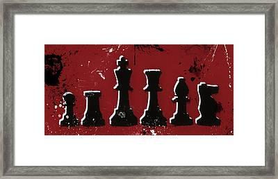 Chess Pieces Paint Splatter Framed Print