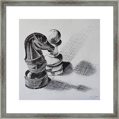 Knight And Pawn Chess Pieces  Framed Print by Sonya Delaney